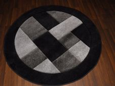 MODERN 140X140CM CIRCLE RUGS WOVEN BACK HAND CARVED BLOCKS RANGE BLACK/SILVER